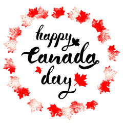 Happy Canada Day hand drawn black lettering in circle of red  mapple leaves