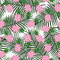 pink pineapple with triangles geometric fruit summer tropical exotic hawaii pattern on a green palm leaves background seamless vector