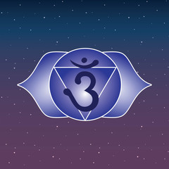 ajna chakra blue icon symbol esoteric yoga indian buddhism hinduism blue and purple sky star vector
