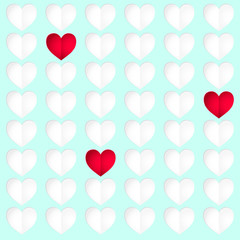 Heart background. Hearts vector pattern. Colorful print.