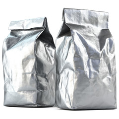 Foil bag package. Foil packaging isolated on white background. 3d rendering.