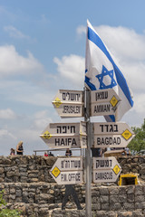 Direction and distance sign post in Mount Bental at the Golan Heights, Israel