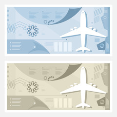 Two Kinds of Airport Banner , Plane on the Runway, Passenger and Cargo Air Transportation, Travel and Tourism Infographic Concept, Vector Illustration