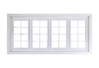 Large white window closed isolated on white background with clipping path