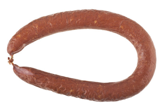 sausage with lard isolated on white background