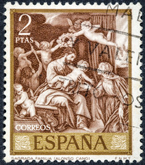 stamp printed by Spain, shows sacred Family by Alonso Cano