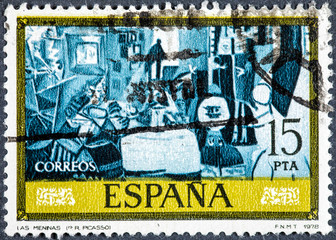 stamp printed by Spain, shows The Meninas  by Pablo Ruiz Picasso