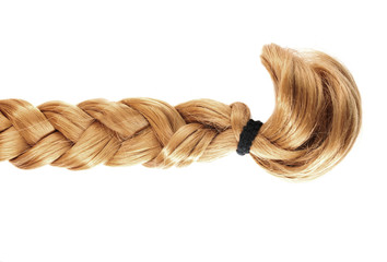 blond plait or braid of blond hair isolated on white background