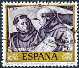 stamp printed by Spain, shows picture Saint John Capri and Saint Bernardino  by Alonso Cano