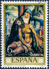 stamp printed by Spain, shows picture The Pieta by Louis Morales