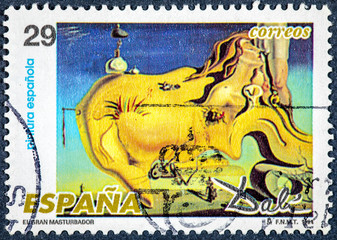 stamp printed by Spain, shows picture The Great Masturbator by Dali