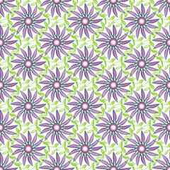 Seamless pattern with a flowers in a translucent colors