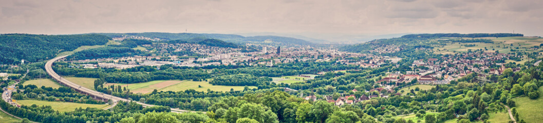 Valley and City of Loerrach in Black Forest in Germany