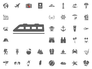 Speed train icon. Summer holidays and Traveling vector icons set.