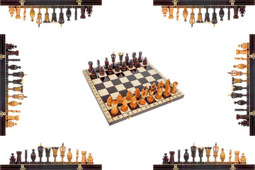 Chess Board with pieces and chess pieces on the edges