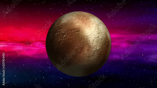 Movement in outer space of Pluto on abstract nebula background