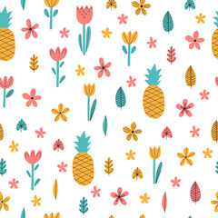 Hand drawn summer seamless pattern with flowers and pineapple. Cute tropical childish background. Stylish decorative elements