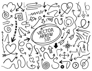 Hand draw arrow vector set 2