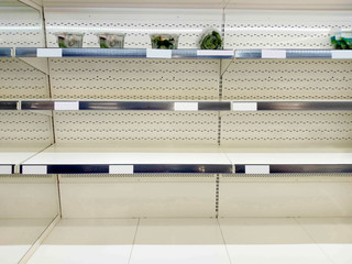 Empty shelf in grocery store
