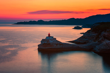 Lighthouse in Bonifacio, Corsica, France at Sunset