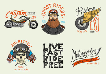 Motorcycles and biker club templates. Vintage custom skulls emblems, labels badges for t shirt. Monochrome retro style. Classic sport motorbike with racing gasoline. Hand drawn engraved sketch