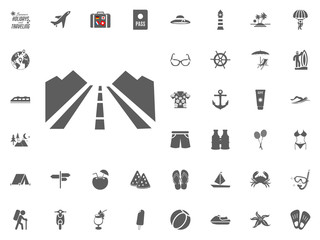 On the way to the trip icon. Road trip icon. Summer holidays and Traveling vector icons set.