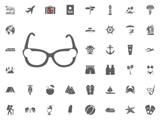 Sunglasses icon. Summer holidays and Traveling vector icons set.
