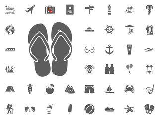Flip flops, summer slippers icon. Summer holidays and Traveling vector icons set.