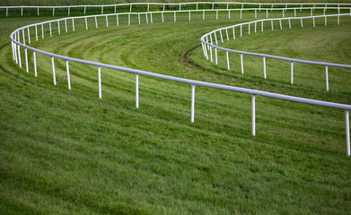 horse race track railing barrier turn
