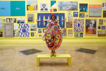 Artist and coordinator of the Royal Academy of Arts 250th Summer Exhibition, Grayson Perry, poses for a photograph at the press launch of the exhibition in London