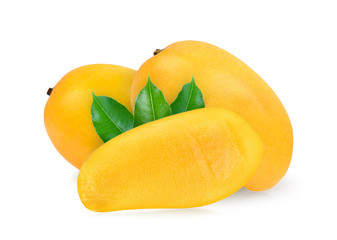 ripe mango with leaf on white background