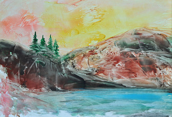 Picture, Oil Painting Symbolical Landscape, Mountain, Blue Lake and Green Fir Trees