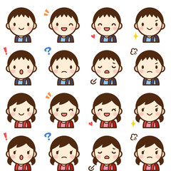 Isolated set of cute elementary school student boy & girl avatar expressions