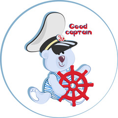 GOOD CAPTAIN. Funny polar bear-kid. Emblem for children's textiles, for children's albums, packaging of toys with marine themes. Time of adventure and sea travel.
