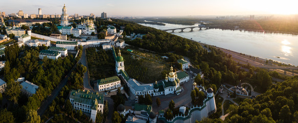 Fototapeten Kiew Aerial panoramic view of Kiev Pechersk Lavra churches on hills from above, cityscape of Kyiv city
