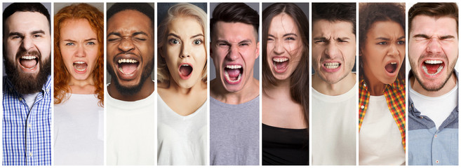Collage of diverse people shouting at studio background