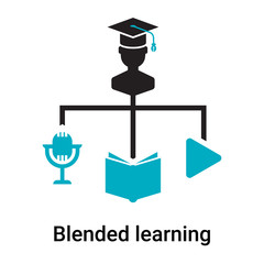 Blended learning icon vector sign and symbol isolated on white background, Blended learning logo concept