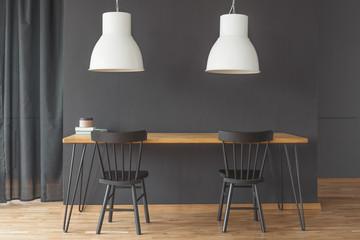 Black and white minimal interior