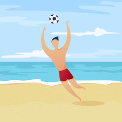 Vector character set, beach football players collection