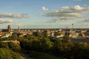 View of the city of Gdansk from a high point on a sunny day. Poland