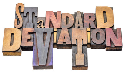 standard deviation - word abstract in wood type