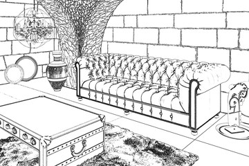 3d illustration. Sketch of the living room with antique accessories.