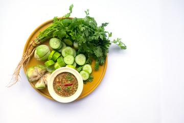 Shrimp paste sauce (nam prik kapi) served with mix vegetable