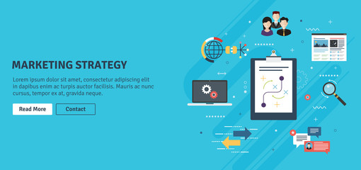Marketing strategy, advertising and business. Team work, communication and business icons. Marketing strategy and advertising internet banner concept with icons in flat design vector illustration.