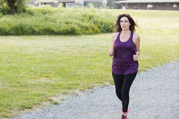 Beautiful woman in her 40s jogging