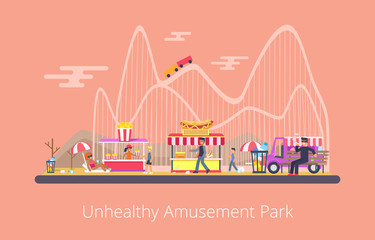 Unhealthy Amusement Park, Vector Illustration