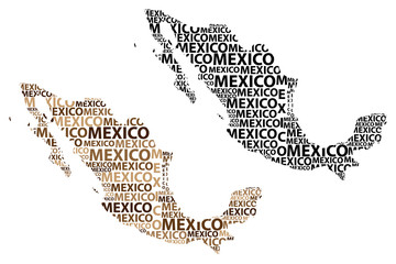 Sketch Mexico letter text map, Mexico - in the shape of the continent, Map of United Mexican States - brown and black vector illustration
