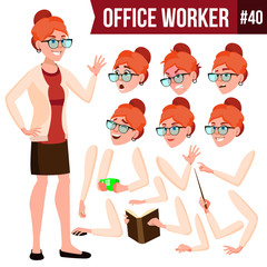 Office Worker Vector. Woman. Modern Employee, Laborer. Business Woman. Emotions, Gestures. Animation Creation Set. Flat Cartoon Illustration