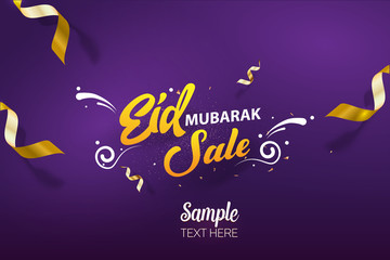 Obraz Eid Mubarak Sale poster background vector template design - fototapety do salonu