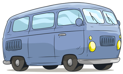 Cartoon cute blue retro van bus vector icon